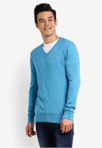 Hollister blue Vneck Knitwear HO422AA0RCQKMY_1