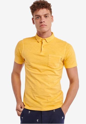 Shiwi yellow Jersey Slub Solid Polo Shirt 20109AAAA51DF0GS_1