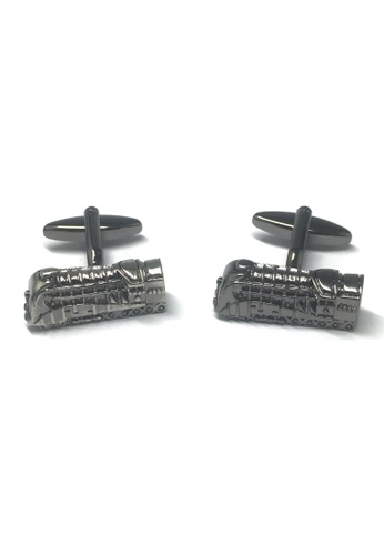 Splice Cufflinks Gunmetal Retro Locomotive Train Cufflinks SP744AC27ABOSG_1
