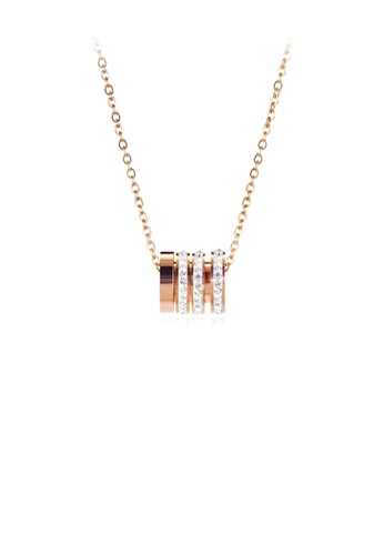 Glamorousky white Fashion and Simple Plated Rose Gold Geometric Cylindrical 316L Stainless Steel Pendant with Cubic Zirconia and Necklace 19393ACB33863CGS_1
