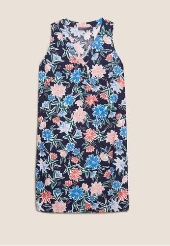 MARKS & SPENCER multi M&S Linen Floral V-Neck Knee Length Shift Dress FCD63AA1356C11GS_1