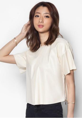 PU 短版esprit台灣官網短袖上衣, 服飾, 服飾