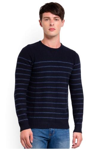 OVS 藍色 條紋針織上衣 0F7E1AA138022BGS_1