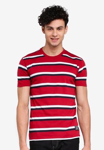 Penshoppe 紅色 寬鬆條紋T恤 310C9AA48062EFGS_1