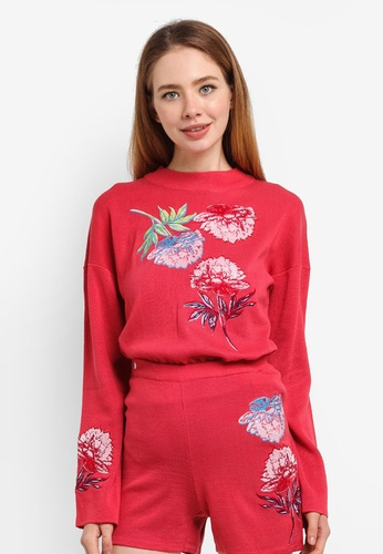 LOST INK red Floral Embroidered Co-Ord Jumper CE629AA44B64EAGS_1