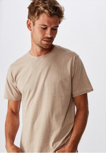 Cotton On beige Longline Scoop Burnout T-Shirt C9C96AA6D21C8BGS_1