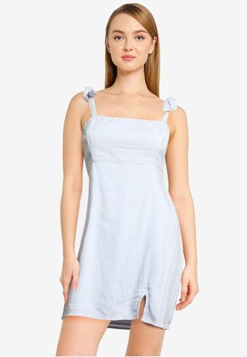 Hollister 藍色 綁帶無袖洋裝 0EFDFAAF4C415EGS_1