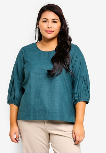 Ex'otico green Plus Size 3/4 Puff Sleeve Blouse F781EAAF7F4AA3GS_1