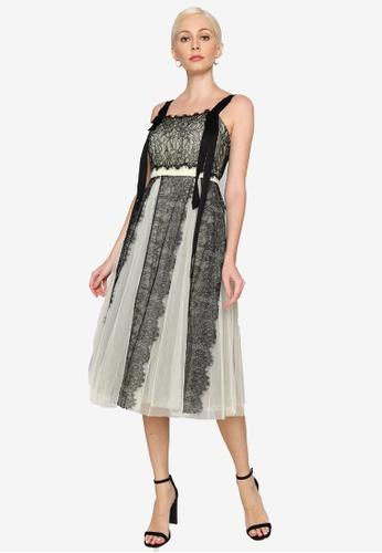 Hopeshow yellow Spaghetti Strap Lace Mesh Midi Dress CA599AA3F2B943GS_1