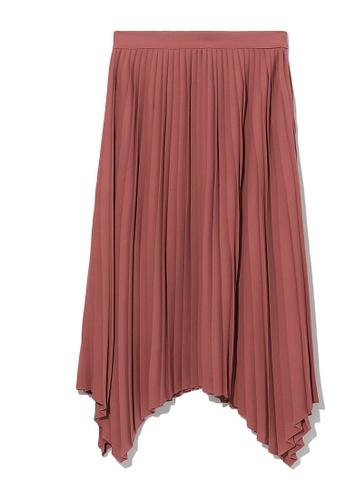 tout à coup red Asymmetrical pleated skirt 18E5DAA895E866GS_1