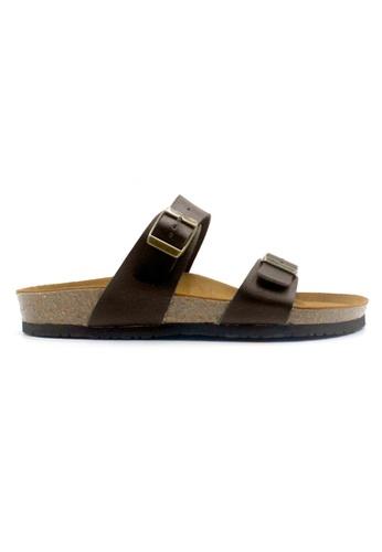 SoleSimple 褐色 Glasgow - 深棕褐色 百搭/搭帶 全皮軟木涼鞋 DA757SHB242AEEGS_1