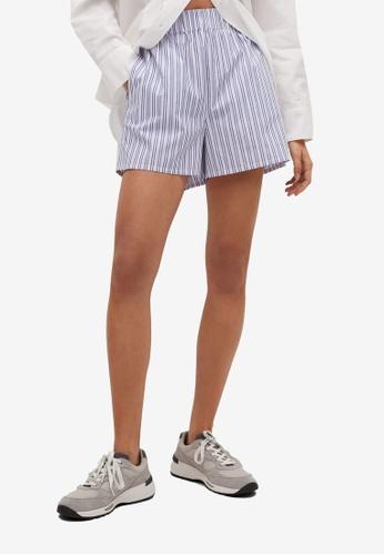 Mango blue Striped Shorts 09BA8AA06113A3GS_1