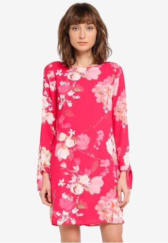 Wallis pink Petite Lily Tie Sleeve Tunic Dress WA800AA0SSSBMY_1