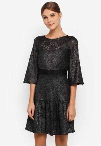 CLOSET black Flared Sleeve Fril Hem Dress CL919AA0SIKLMY_1