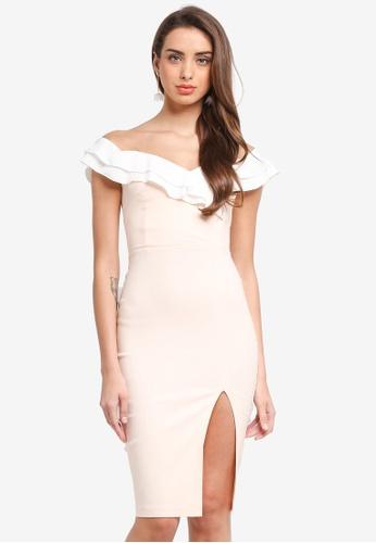 Vesper pink Vesper Samia Bardot Frill Bust Midi Dress 84AAAAA2381E09GS_1