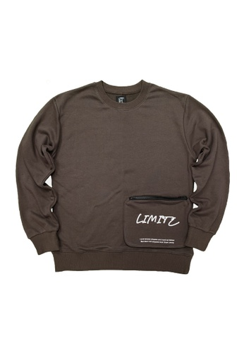 L.I.M.I.T.E grey Men's Sweat Shirt with Zipper Pocket 38307AA442A644GS_1