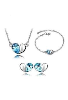 Crystal Heart Jewelry Trio Set (Necklace + Earring + Bracelet) By Zumqa