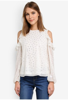 Dorothy Perkins white Foil Cold Shoulder Top DO816AA0SD42MY_1