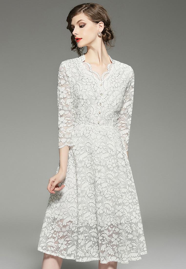 Button CA043035 One White Sunnydaysweety Piece 2018 Dress White New Lace BCwtqAq