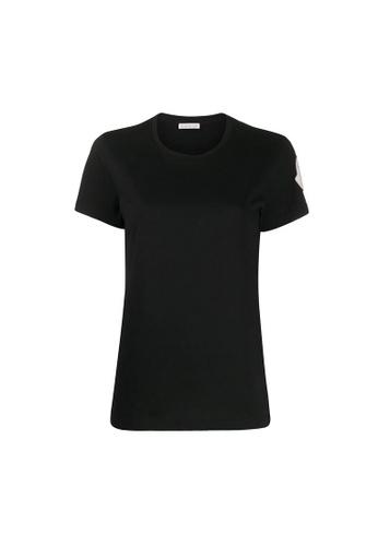 Moncler black Moncler Macro-Logo T-Shirt in Black 27699AA5677AEEGS_1