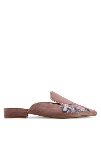 Something Borrowed 粉紅色 絲絨繡花懶人穆勒鞋 9EEA6SH2294377GS_1