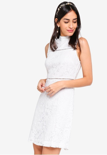 ZALORA white Bridesmaid High-neck Lace Pencil Dress 17D9EAABDA7CB4GS_1