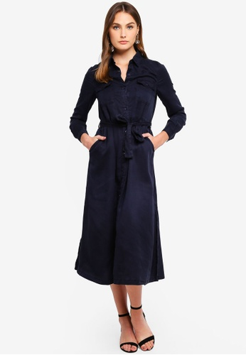 French Connection navy Tandy Lyocell Tie Waist Shirt Dress 1E1EBAA539B408GS_1
