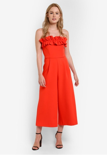 TOPSHOP red Ruffle Bandeau Jumpsuit TO412AA44GYDMY_1