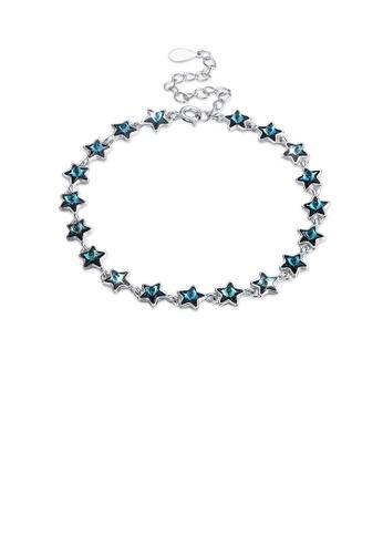 Glamorousky blue 925 Sterling Silver Sparkling Star Blue Austrian Element Crystal Bracelet 63DACACFDAAB35GS_1