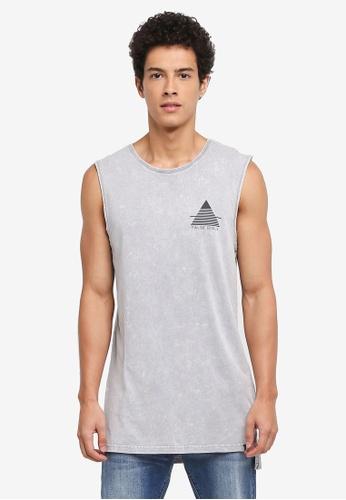 Factorie grey Shaded Amped Drop Tail Muscle Tank Top 90225AA19E2EE6GS_1
