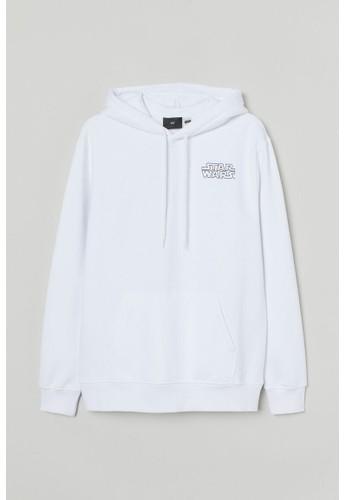 H&M white Regular Fit Hoodie A3EA2AAE69EDE9GS_1
