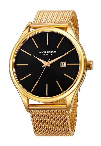 Akribos XXIV gold Akribos XXIV Essential Men's Radiant Dial Mesh Bracelet Yellow Gold Black AK959-YGB AK522AC0WFJLID_1