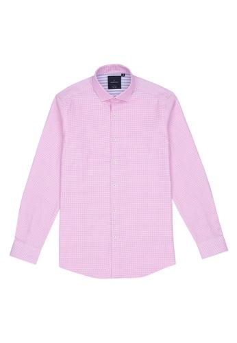 Benjamin Barker pink Kaga Easy Iron Pink Check Shirt 0B363AAB08B958GS_1