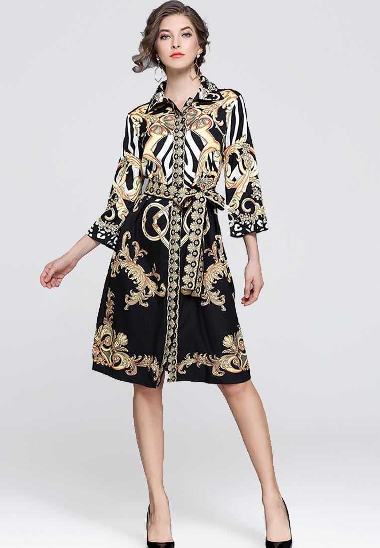 NBRAND 4 Length Dress Printed Lapel 3 multi Sleeve AYqwpx45