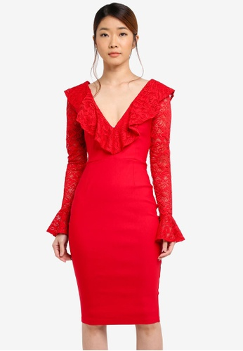 Vesper red Vesper Mariella Lace Frill Long Sleeve Dress 10250AAB6C17B9GS_1