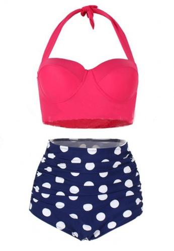 LOVENGIFTS white and pink and navy Vintage Halter Heart And Polka High Waist Bikini Set E5EB1US6BF1A7CGS_1