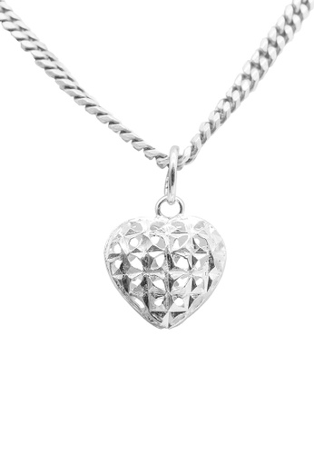 Elfi silver Elfi 925 Sterling Silver With 18K White Gold Plating Pure Silver Heart Cage Necklace Pendant SP89 5AC17ACA0E9659GS_1