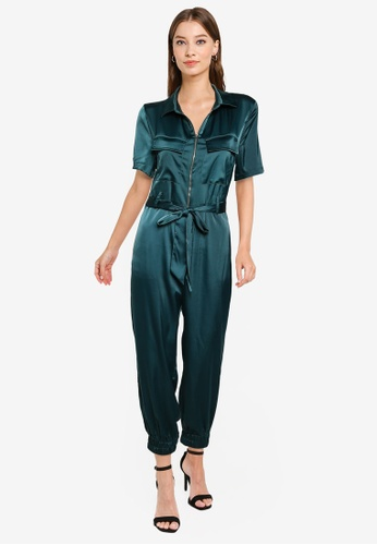 ZALORA OCCASION green Satin Pocket Detail Jumpsuit 46492AA20E38F0GS_1