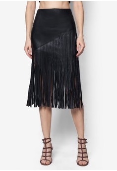 Long Line Fringe Pencil Skirt