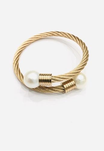 Shinju Pearls Stainless Steel Fresh Water Pearl Kazumi Rose Gold Bangle 0318BAC12DCDFAGS_1