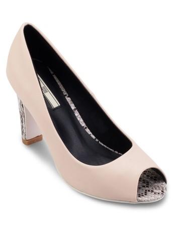 蛇紋印花露趾高跟鞋、 女鞋、 鞋Nose蛇紋印花露趾高跟鞋最新折價