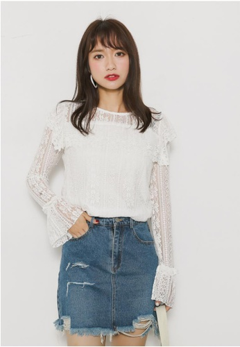 Shopsfashion white Lace Blouse SH656AA23YQASG_1