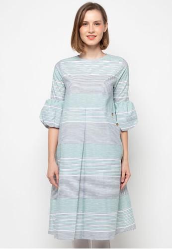 Point One green MIKHA Stripe Dress D76B8AA1030890GS_1