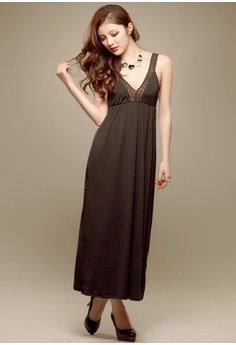 V-Neck Sleeveless Straight Dress