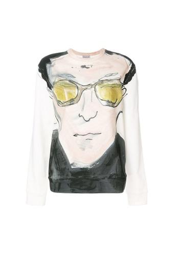 Moncler white Moncler Portrait Print Sweatshirt in White A2417AAA00C445GS_1