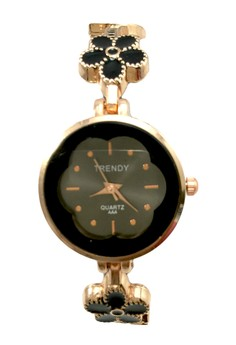 Trendy Women's Floral Silicone/Stainless Steel Strap Watch