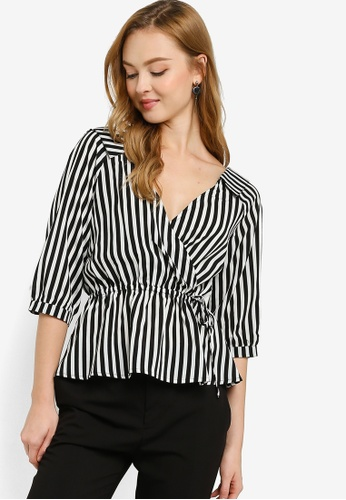 ZALORA WORK black Flap Collar Wrap Top 146DAAAEBBC162GS_1