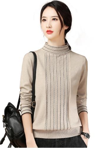 A-IN GIRLS beige Simple Striped Half Turtleneck Sweater 1E9F2AADB53306GS_1