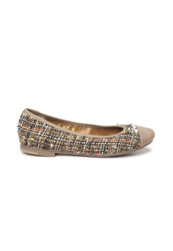 Shu Talk brown LeccaLecca Tweed Fabric Charmy Flats 3C5FBSH9FFBA32GS_1