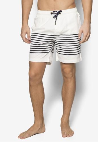 Rivieresprit part timea 條紋拼接休閒短褲, 服飾, 運動